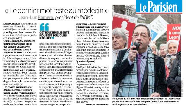 """""""L'ultime liberté de choisir sa #FindeVie nous est toujours refusée"""" JL Romero dans le Parisien"""