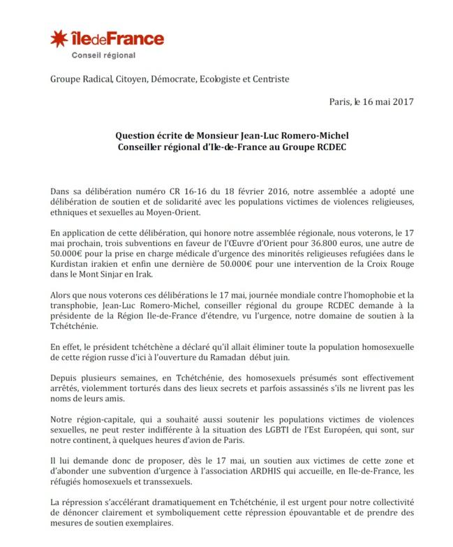 CP > Jean-Luc Romero-Michel demande à Valérie Pécresse un soutien symbolique et matériel du conseil régional d'Ile-de-France aux LGBTI tchétchènes persécutés