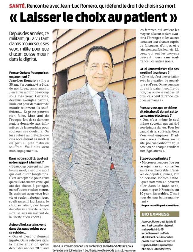 """""""Laisser le choix au patient"""" Jean-Luc Romero dans Presse Ocean"""