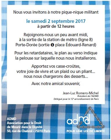 Pique-nique de rentrée de l'ADMD à Paris, samedi 2 septembre 2017