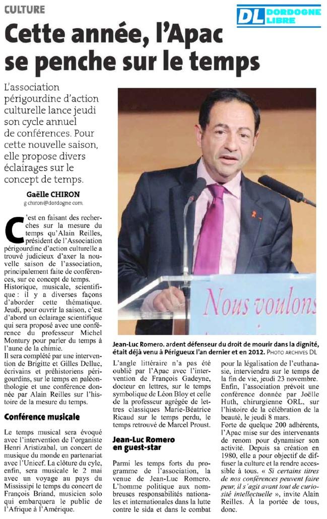 """""""Jean-Luc Romero en guest-star"""" à Périgueux pour La Dordogne Libre"""