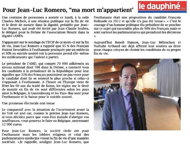 """""""Ma mort m'appartient"""" pour Jean-Luc Romero dans le Dauphiné"""