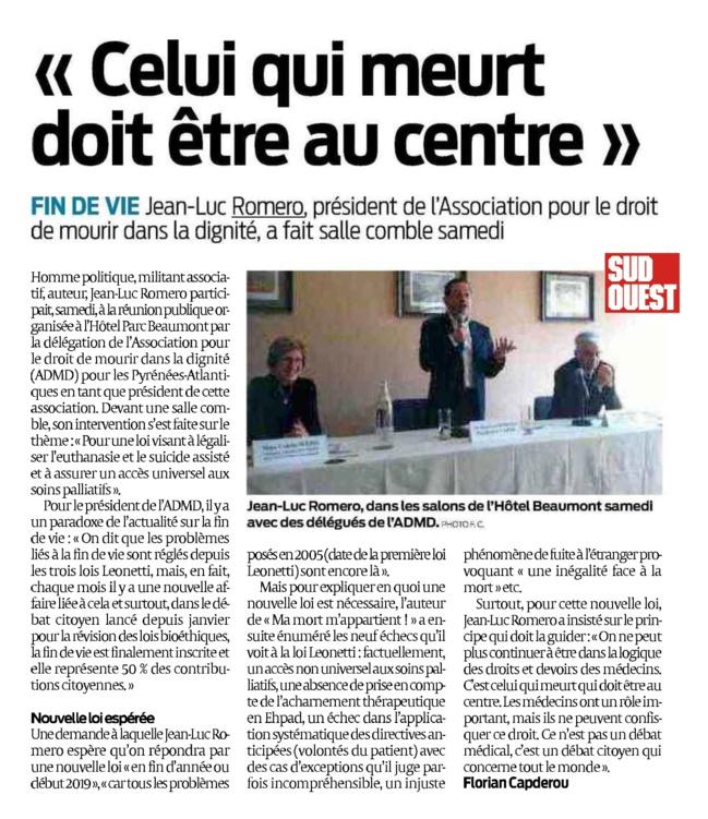 """""""Celui qui meurt doit être au centre"""" (Sud Ouest- - retour sur la réunion de Jean-Luc Romero à Pau"""