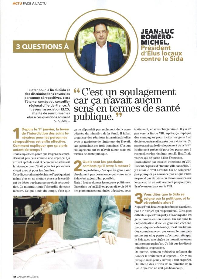 3 questions à Jean-Luc ROMERO-MICHEL dans Garçon Magazine