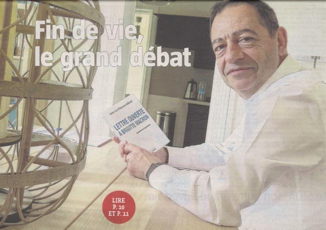 La fin de vie : le grand débat en une dans la Voix du Nord - Béthune avec Jean-Luc Romero-Michel