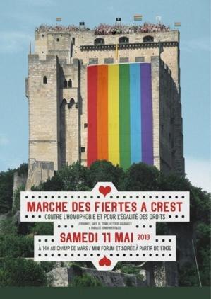 A Crest (Drome), pour la 1ère Marche des Fiertés, le 11 mai 2013 - (Presse + Vidéo)