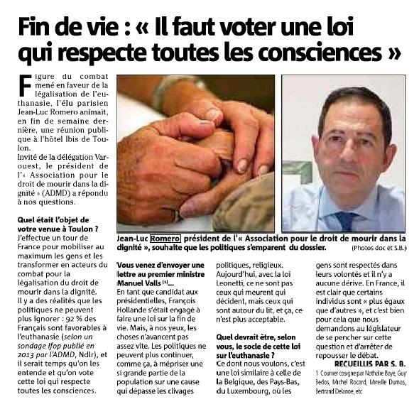 Il faut voter une loi qui respecte toutes les consciences - Jean-Luc ROMERO dans Var Matin