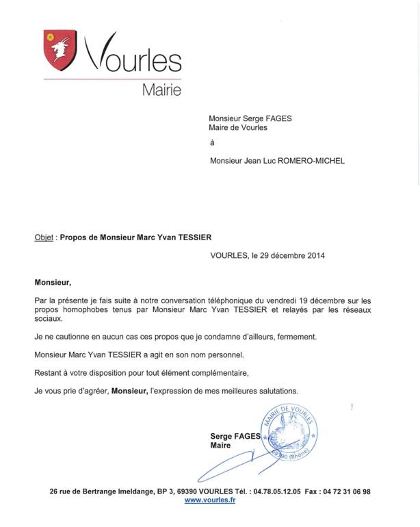"""Vourles / propos homophobe : """"Le Maire, condamne fortement, les propos de M.Tessier"""""""