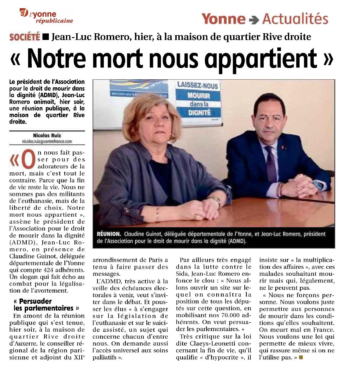 Retour sur la conférence à Auxerre avec Jean-Luc Romero