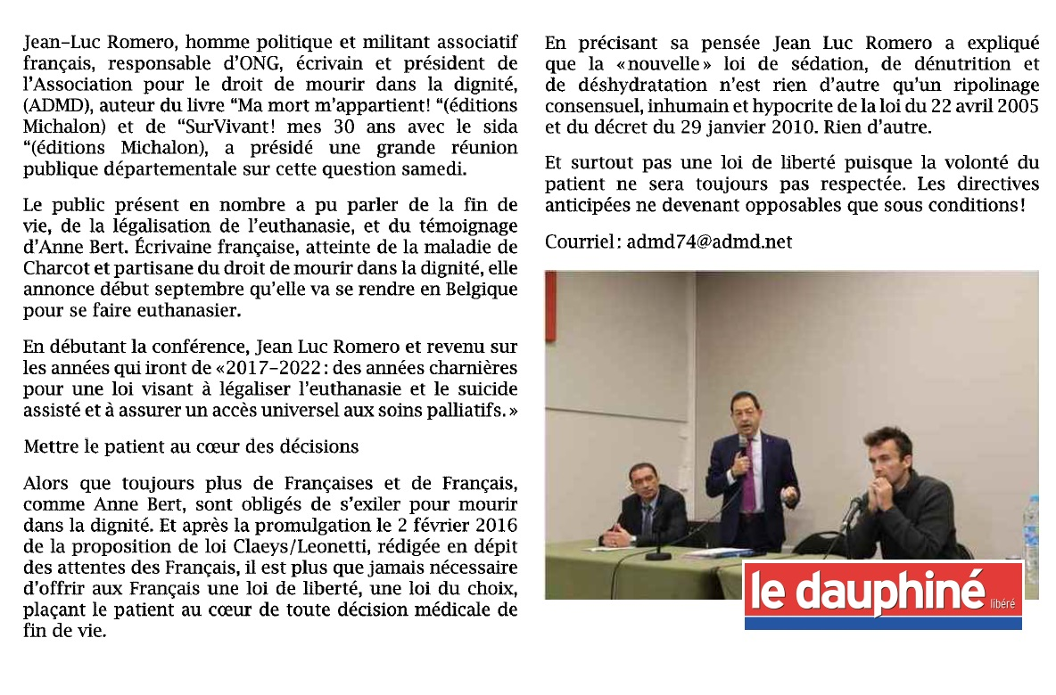 """""""Mettre le patient au cœur des décisions"""" dans le Dauphine Libéré"""