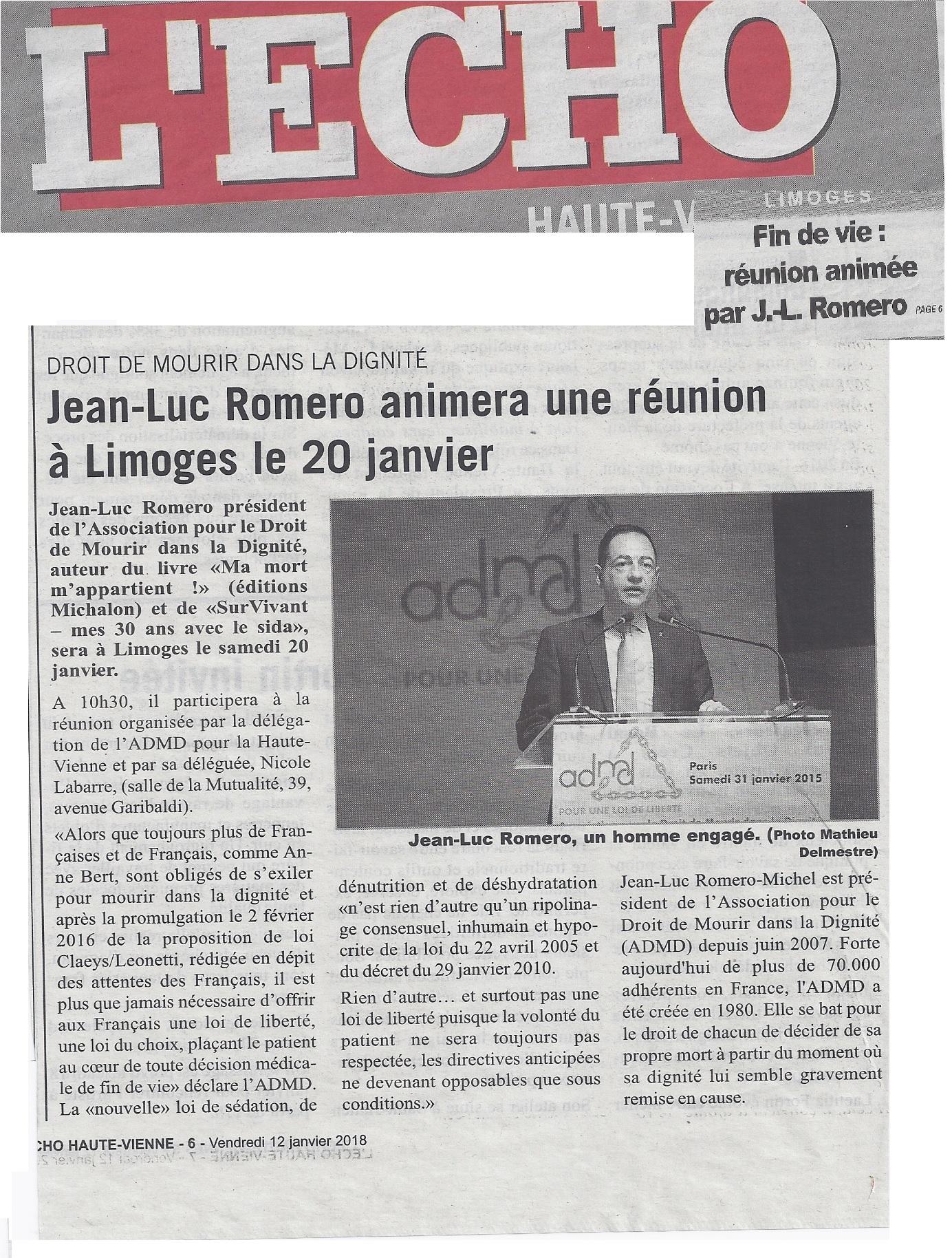 A Limoges, le vendredi 20 janvier pour une réunion publique de l'ADMD