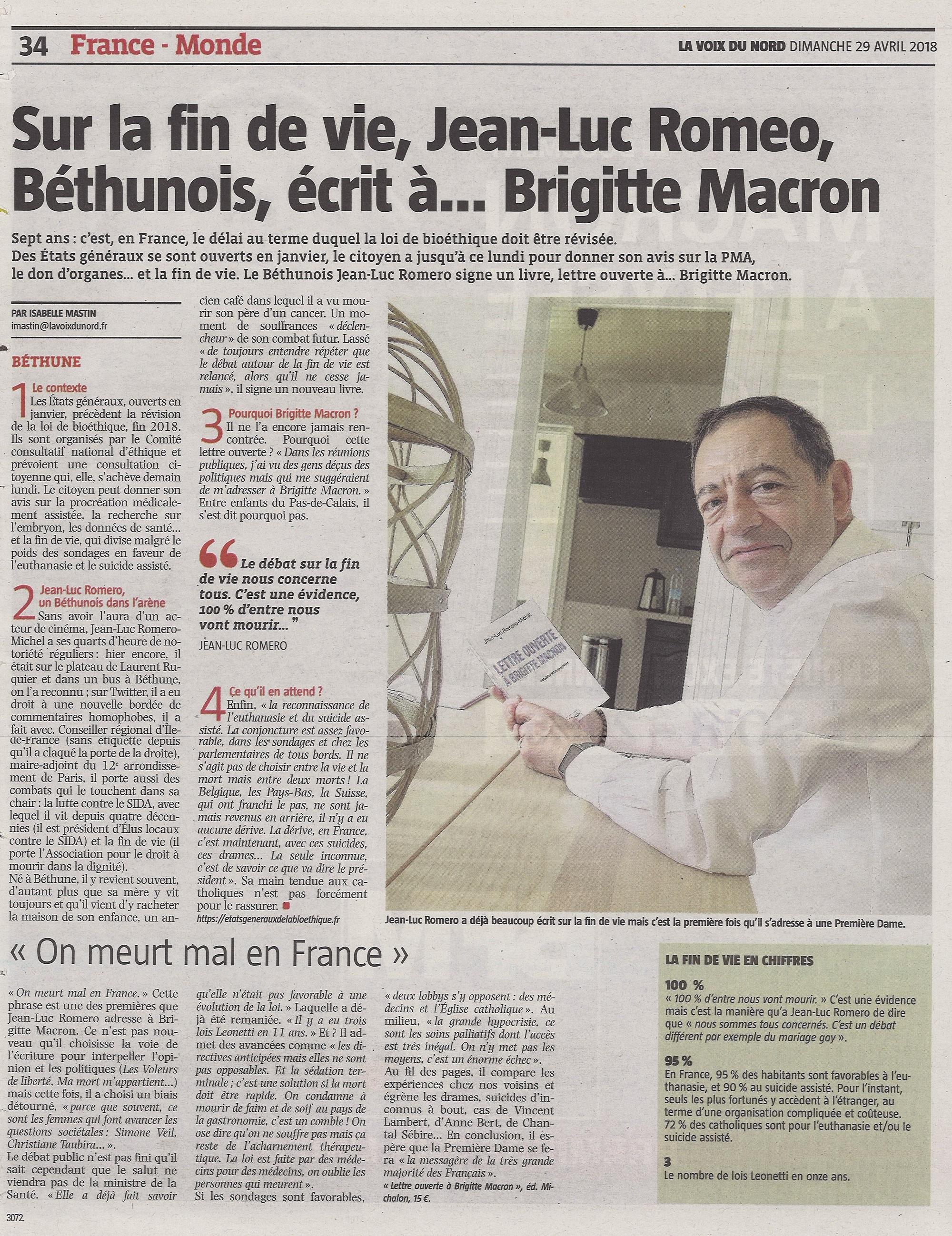 """""""Sur la fin de vie, Jean-Luc Romero, écrit à Brigitte Macron"""" La Voix du Nord - Dimanche 29 avril"""