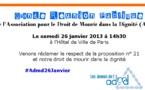 Grande réunion Publique de l'ADMD, ce samedi 26 janvier 2013 à 14h30 - Hotel de Ville de Paris